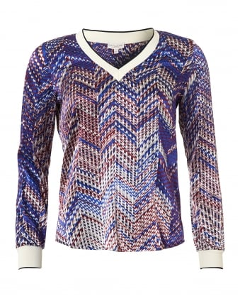 Womens Harlee Top, Multi Colour V-neck Jumper
