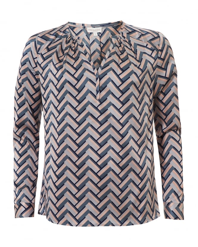 Dea Kudibal Womens Irene Blouse, Geometric Nude Chevron Top