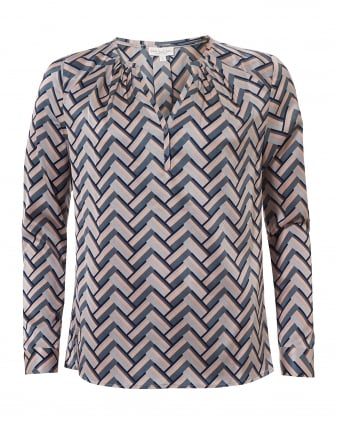 Womens Irene Blouse, Geometric Nude Chevron Top