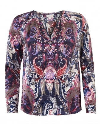 Womens Irene Blouse, Paisley Multi Colour Print Top