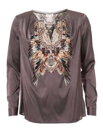 Womens Irene Blouse, Taupe Boho Print Top