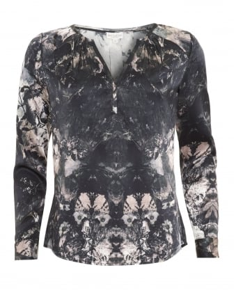Womens Irene Shirt, Pleat Black Floral Blouse
