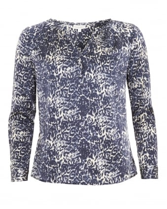 Womens Irene Shirt, Pleat Blue Leopard Blouse