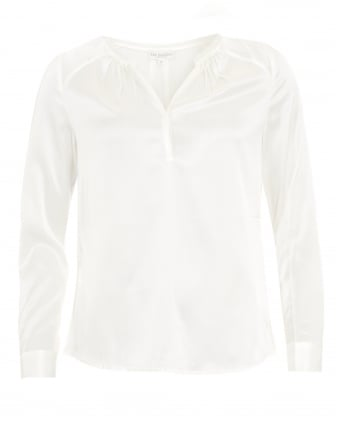 Womens Irene Shirt, Pleat Natural White Blouse