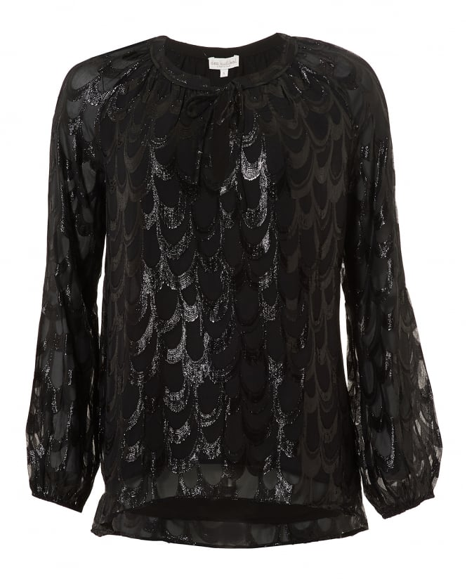 Dea Kudibal Womens Justice Blouse, Black Metallic Print Top