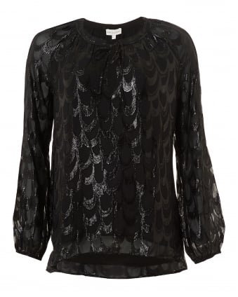 Womens Justice Blouse, Black Metallic Print Top