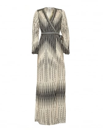Womens Mathilde Temple African Print Ivory Black Maxi Dress