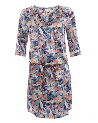 Womens Maya Blue Pink Vibe Shirt Dress