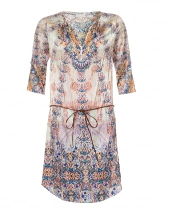 Womens Maya Shirt Dress, Butterfly Floral Print Pink/Blue Dress