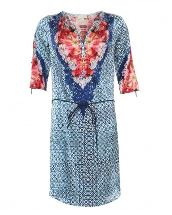 Womens Maya Shirt Dress, Vega Flower & Tile Print Blue/Red Dress