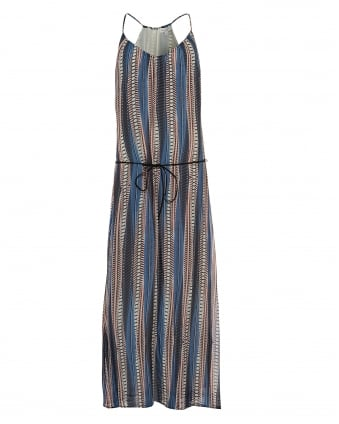 Womens Nala Maxi Dress, Vertical Stripe Pattern Blue Multi Coloured Dress