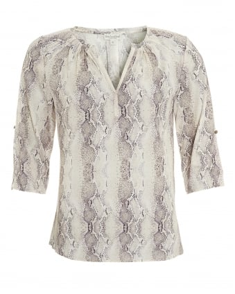 Womens Natalie Blouse, Grey Snake Print Top