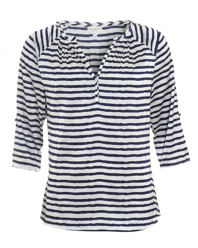 Dea Kudibal Womens Natalie Blouse, Lines Navy White Print Top