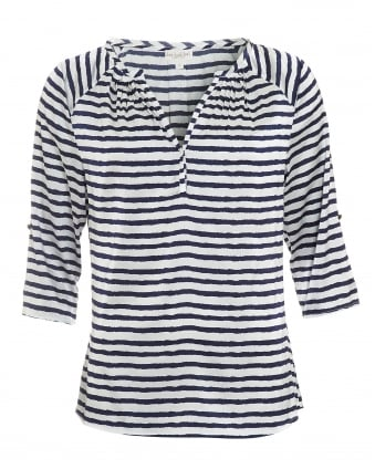 Womens Natalie Blouse, Lines Navy White Print Top