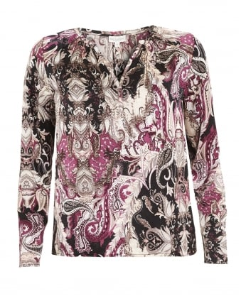 Womens Sandra Shirt, Paisley Print Black Blouse