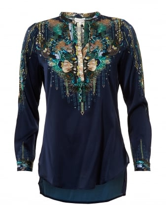 Womens Saselina Blouse, Navy Peacock Print Silk Top