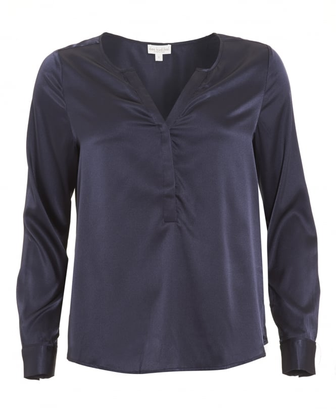 Dea Kudibal Womens Sasha Shirt, Buttoned Midnight Blue Blouse