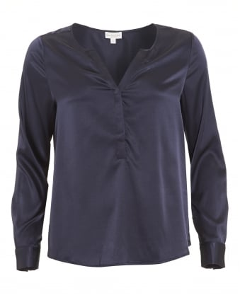 Womens Sasha Shirt, Buttoned Midnight Blue Blouse