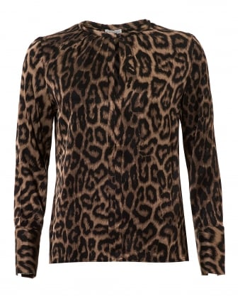 Womens Seattle Blouse, Leopard Print Silk Top
