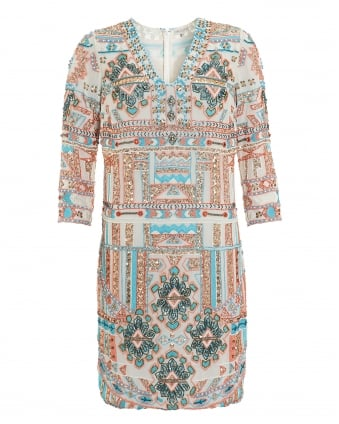 Womens Tenya Embellished Embroidered Turquoise Pattern Dress