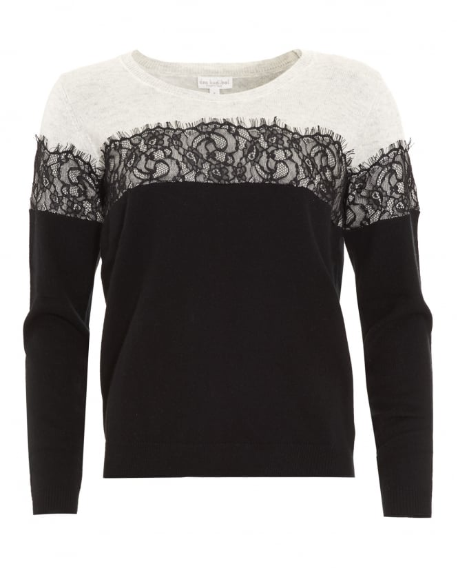 Dea Kudibal Womens Tia Lace Detail Black and Cream Jumper