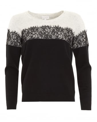 Womens Tia Lace Detail Black and Cream Jumper