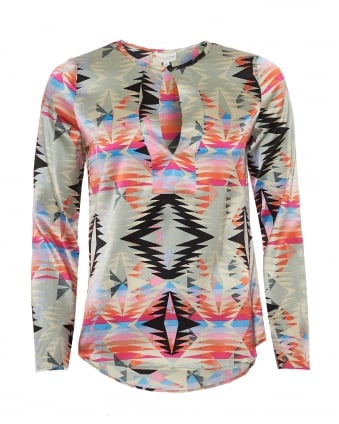 Womens Torrance Tunic, Caprice Pink Geo Print Multi Coloured Top