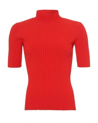 Womens 3/4 Sleeves Jumper, Ribbed Red Poppy Knit