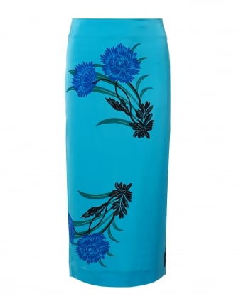 Womens Aqua Floral Midi Pencil Skirt