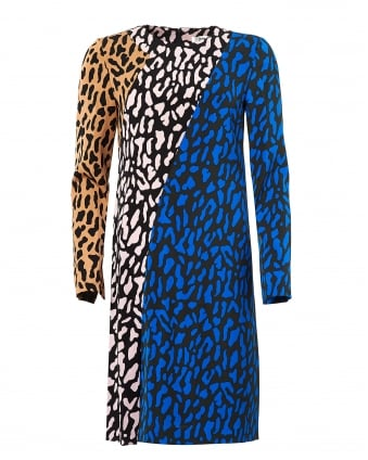 Womens Bias Animal Print Multi Fitted Dress
