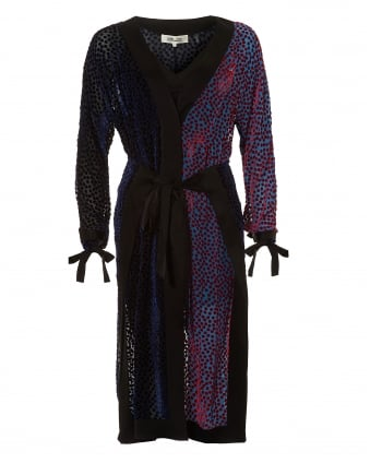 Womens Burnout Tie Waist V-Neck Deep Violet Multi Dress