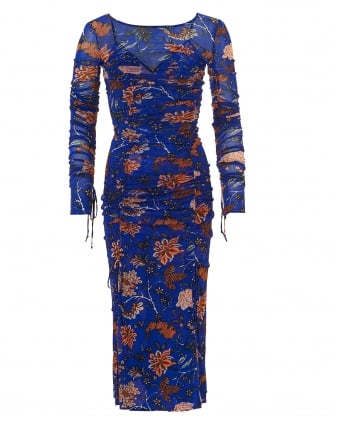 Womens Canton Mesh Dress, Two-In-One Flower Electric Blue Dress