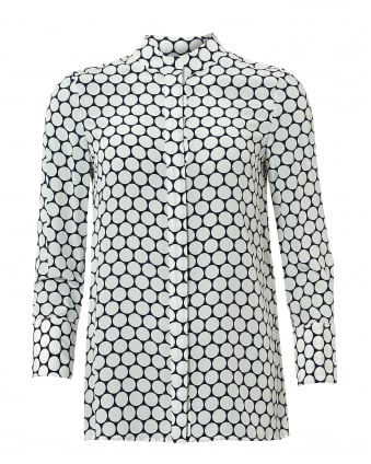 Womens Circles Print Cuffed Sleeves Silk White Navy Shirt