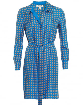 Womens Collared Geometric Tan Blue Shirt Dress