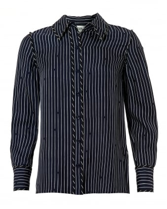 Womens Contrast Striped Long Sleeved Silk Shirt