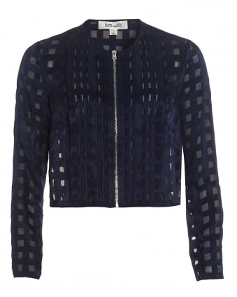 Womens Cropped Square Print Midnight Blue Jacket