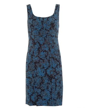 Womens Dot Print Side Slit Black Blue Mini Dress