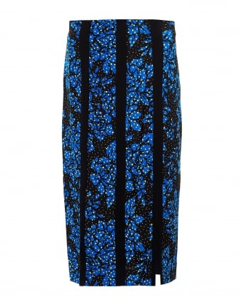 Womens Duo Tone Floral Black Blue Pencil Skirt