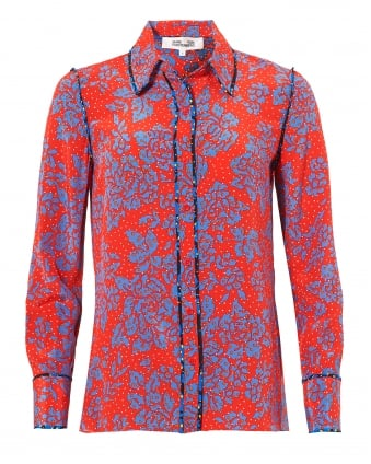 Womens Floral Print Collared Bright Red Black Shirt