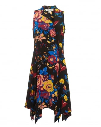 Womens Floral Sleeveless Black Bias Dress