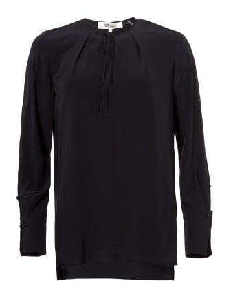 Womens Front Keyhole Black Silk Blouse