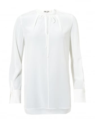 Womens Front Keyhole Ivory Silk Blouse
