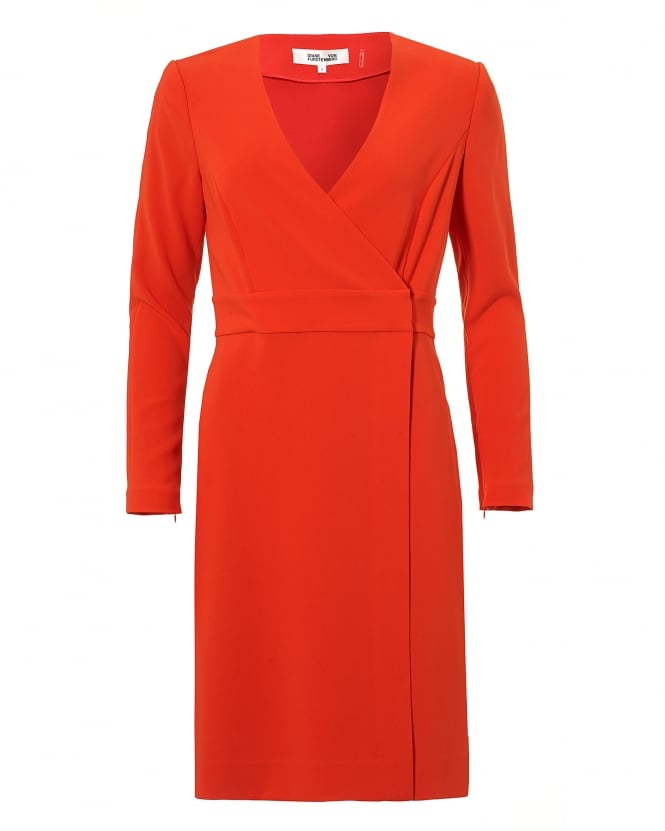 Diane von Furstenberg Womens Gold Clasp A-Line Wrap Red Dress