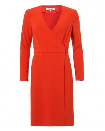 Womens Gold Clasp A-Line Wrap Red Dress
