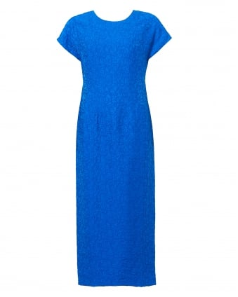 Womens Jacquard Crinkle Texture Bright Blue Dress
