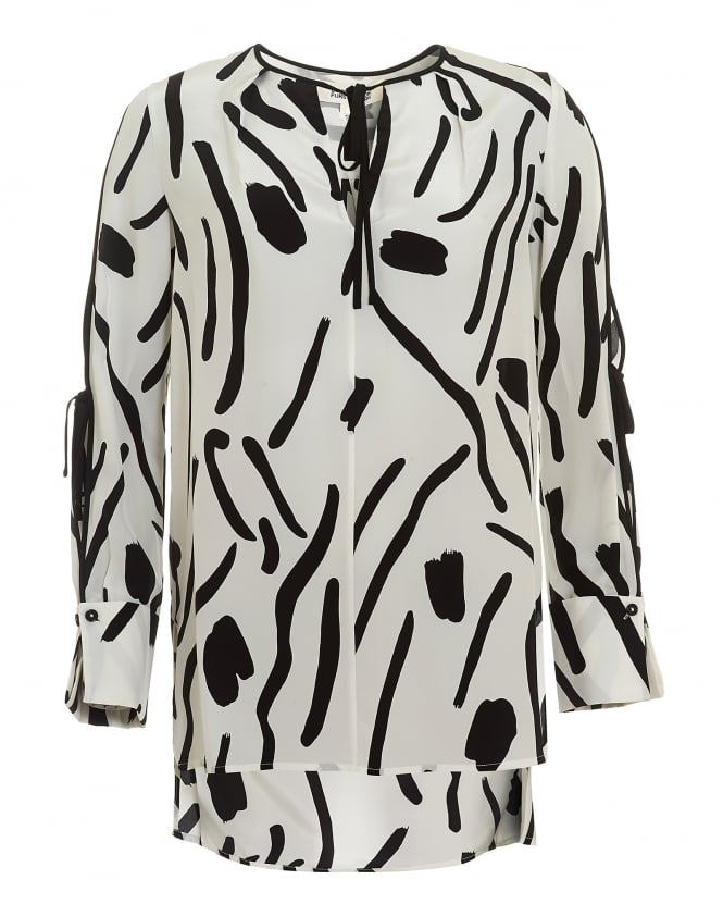 Diane von Furstenberg Womens Keyhole Tied Long Sleeved White Black Blouse