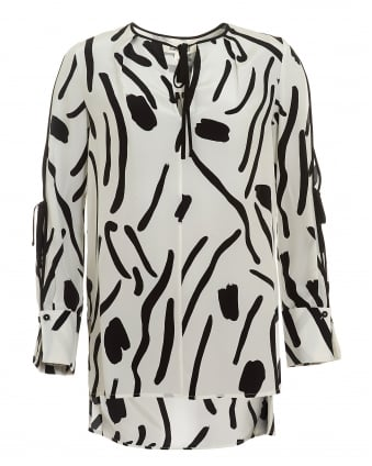 Womens Keyhole Tied Long Sleeved White Black Blouse