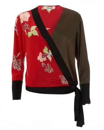 Womens Kimono Blouse, Contrast Panels Green Red Black Top