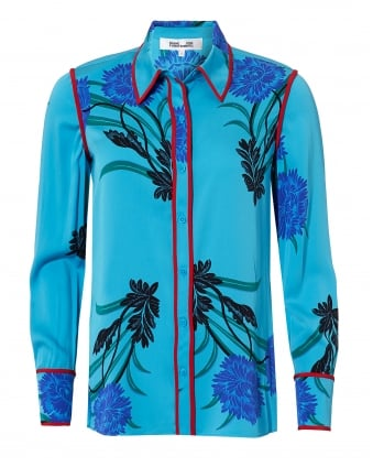 Womens Large Floral Aqua Blue Long Sleeve Collared Shirt