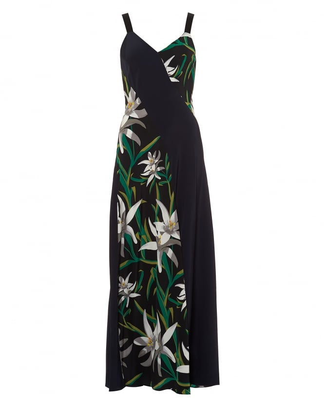 Diane von Furstenberg Womens Maxi Dress, Paneled Navy Blue Lily Print Black Dress